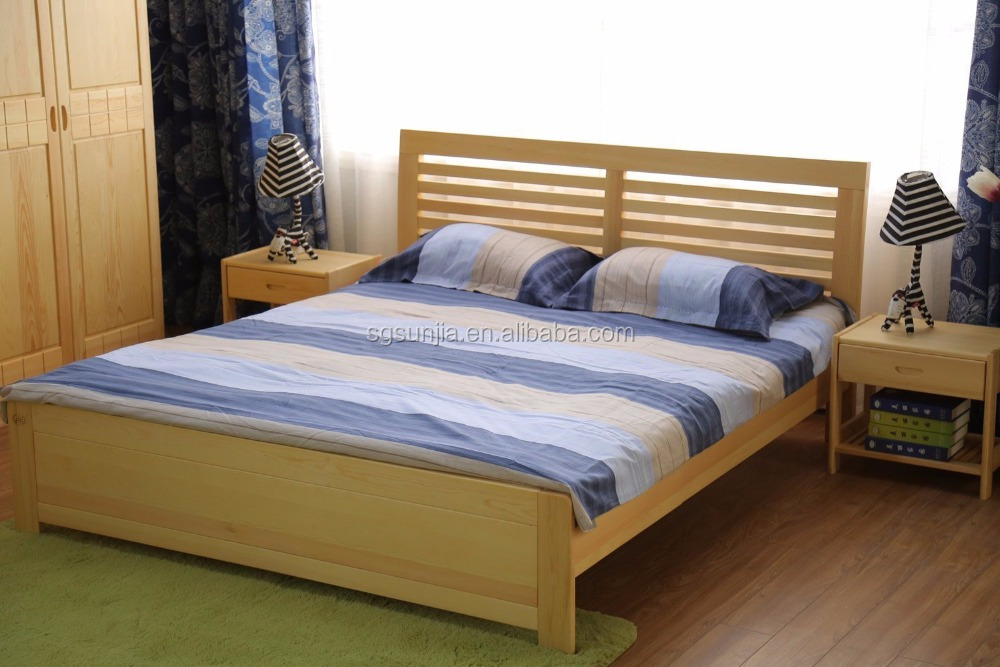 SJBED-1703S Natural Solid Wood, Pine Solid Wooden Simple style bed