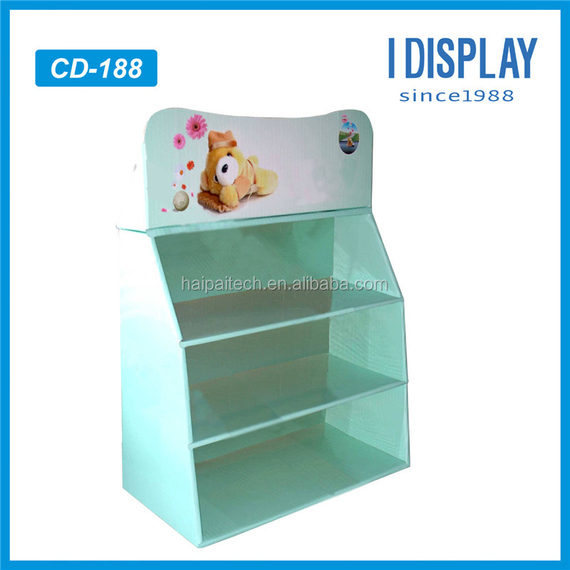 Novelty items custom made for supermarket sell advertising cardboard display counter stand for dolls