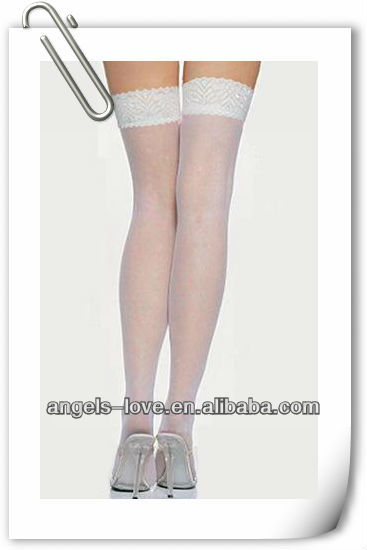 ladies white tube nylon stocking A9002