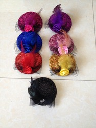 new product colourful sequin feather mini top hat with rose