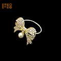 diamante gold bowknot plating crystal napkin ring for weddings