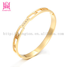 stainless steel 18k gold sikh kara bangle