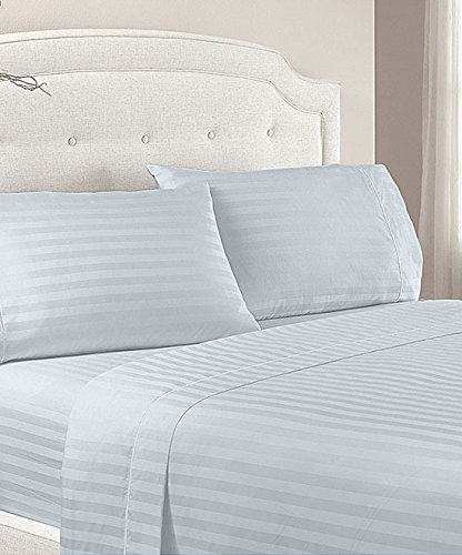 Gray Silver 4 Piece Deep Pocket Stripe Bed Sheets Set