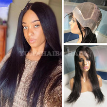 Best selling 1b silky straight virgin indian hair pu around thin skin full lace wig