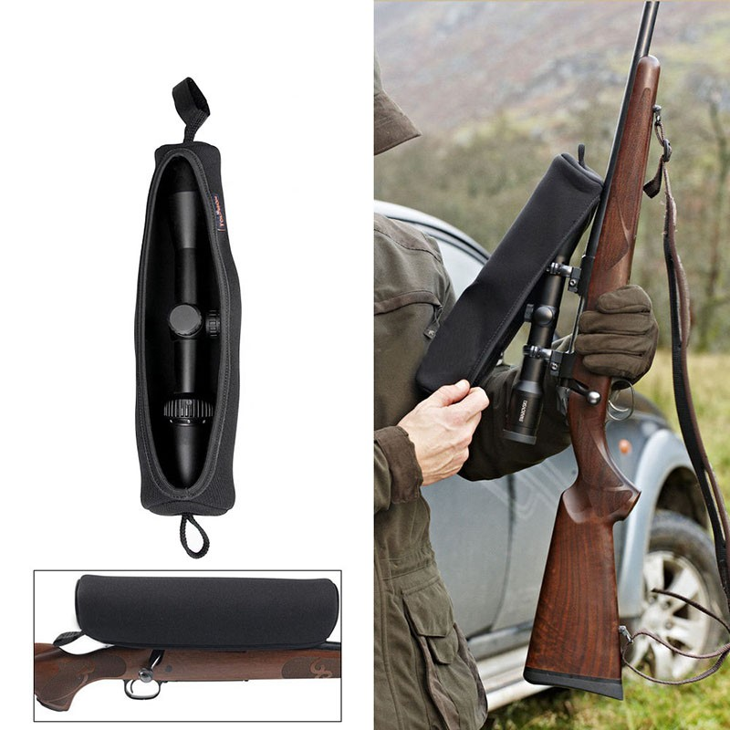 black protective neoprene rifle scope Cover for hunting CL6-0096