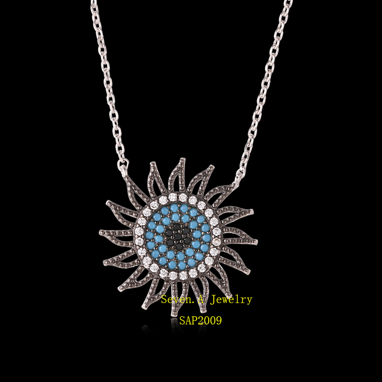 SAP2009 18k Gold-plated Evil Eye Necklace Jewelry, Sterling Silver Pendant Necklace