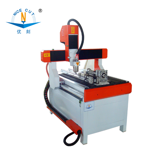 NC-A6090 with rotary desktop 4 axis 3d cnc router wood ,soft metal, plastic with CE,ISO9001,FDA