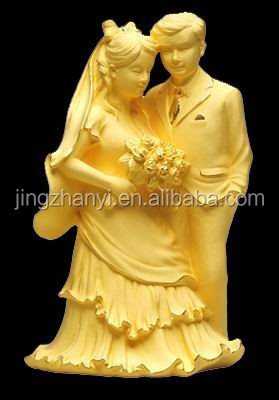 brass plated 24 <strong>k</strong> gold Figurine crafts/Promise/Love couple statue