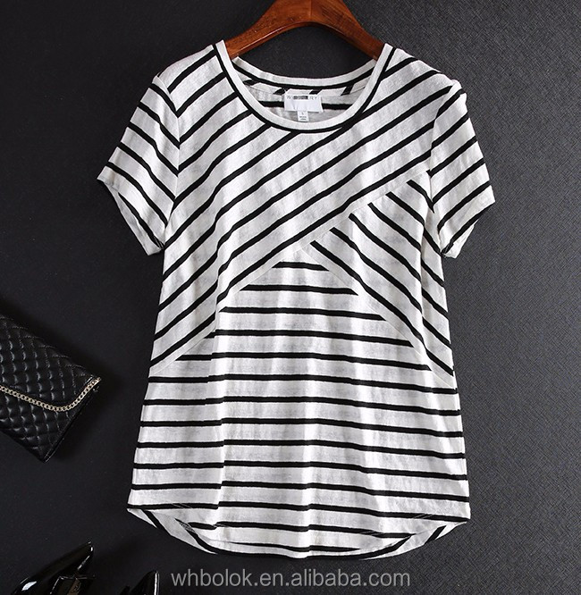 Customized lady t shirt linen cotton summer cool short sleeve striped t shirts