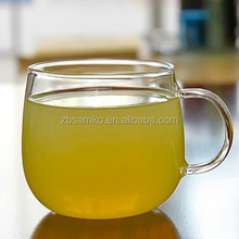 Glass single wall cup with handle for tea or juice