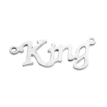 "Custom Findings Letter Silver Tone Message "" King "" Stainless Steel Jewellery Connectors"