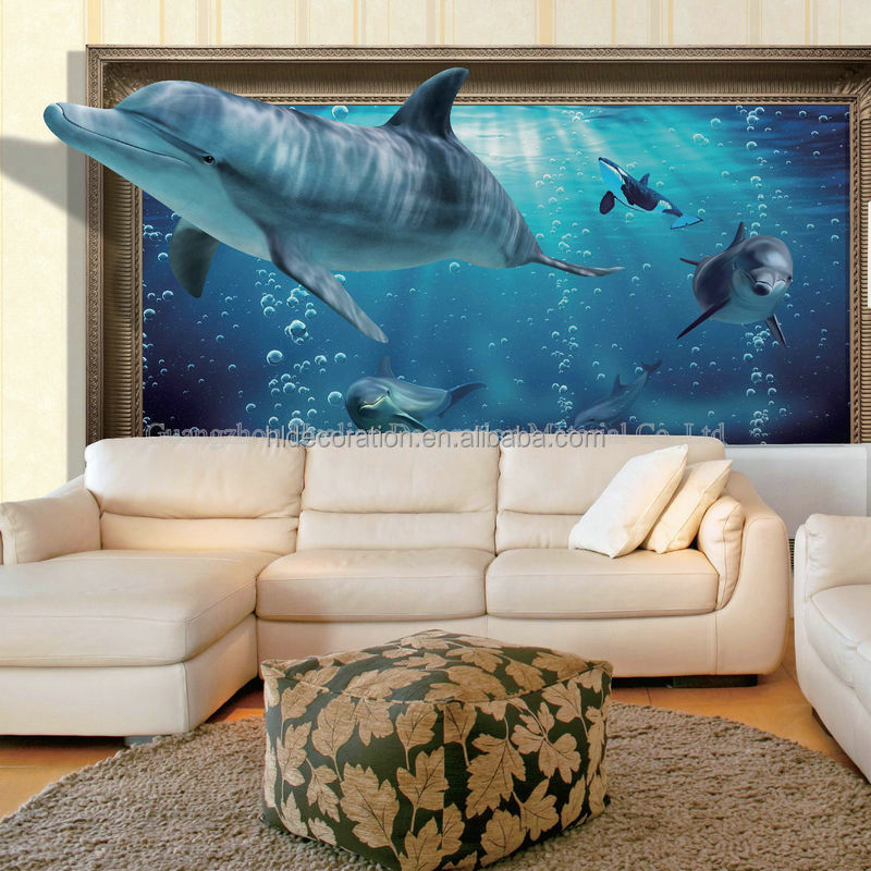 AC140 kids room decor dolphin design digital printing 3d wallpaper