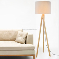 Natural Wood Standing Lava Lamp,Antique Tripod Wooden Floor Lamp