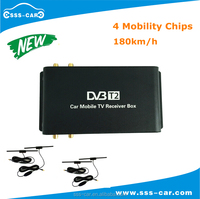 180km/h mobile car dvb t2 digital tv receiver with 4 tuner car dvb-t2 receiver for Russia,Singapore
