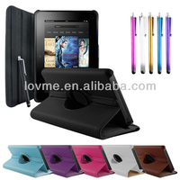 "Leather 36 degree Stand Case Cover for Amazon Kindle Fire HD 7"" with Screen Protector"