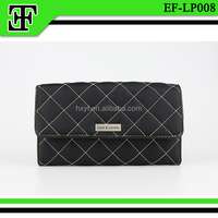 Fashion elegant square black ladies leather cloth clutch purse wallet