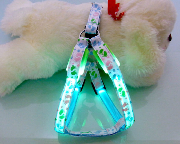 Footprint fluorescence led lighting dog harness