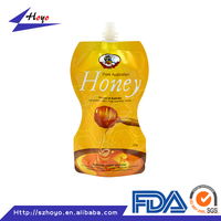 Open On Long Side Custom Shape Liquid Packaging Plastic Fruit Juice Packing Bag/.