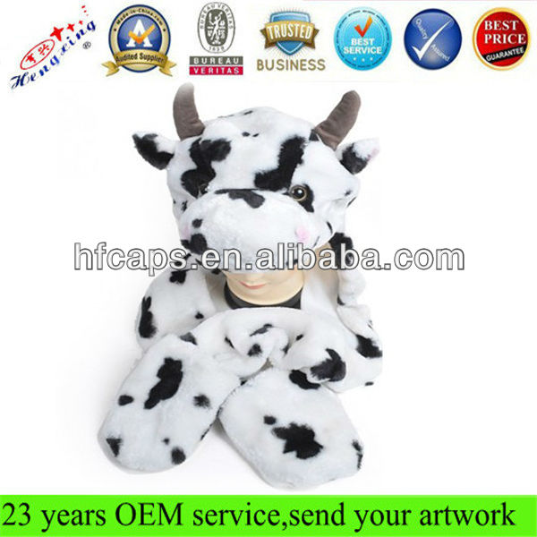 Cute kids plush animal winter hat with Paws Cow Mittens