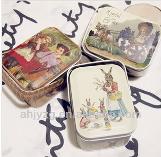 old fashion rectangle packing Cans With cartoon