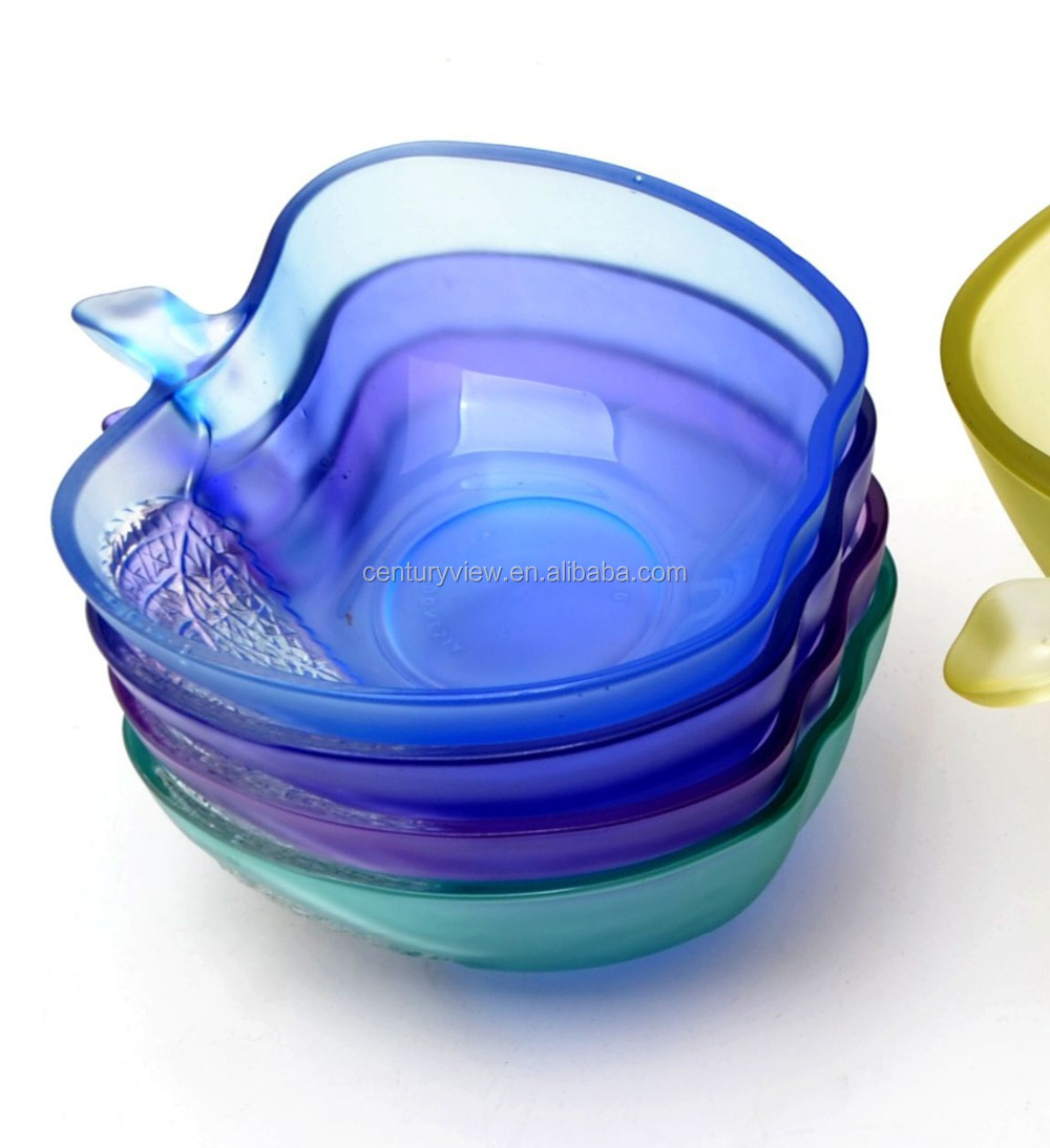 HOT!!! New design 5 pcs colored glass salad bowl set wholesale