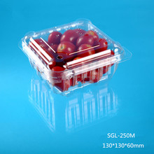 Transparent Disposable plastic tomato packing box with clear hinged lid