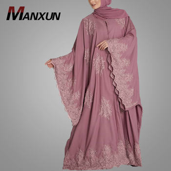 High Quality Moroccan Style Lace Kaftan Dresses Plus Size Nice Lace Fabric Arabic Jilbab Islamic Women Clothing