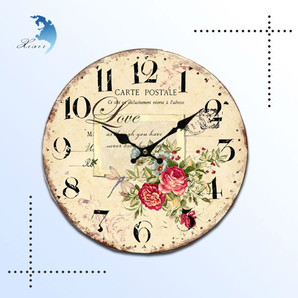 Home decorative custom design screen printed wood crafts wooden wall clock