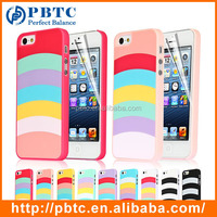 Set Screen Protector And Case For Iphone 5 , Hard Plastic Colorful Stripes Protective Cover Case