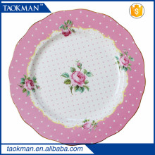 Wholesale fine royal new bone china white ceramic dessert plate with crown design