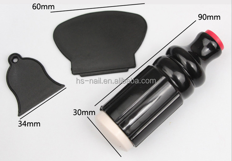 soft black color stamping/ double side nail art stamper/ 3 in 1 stamping nail art kit