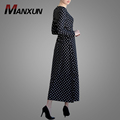 New Fashion Spring Women Maxi Muslim Dress Round Neck Long Sleeve Ladies Islamic Clothing Spots Print Casual Dress For Wholesale