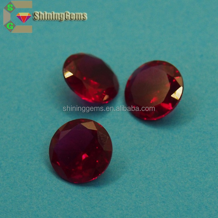 good selling round dark champagne big corundum stone original ruby stone