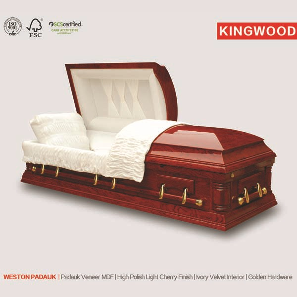 Weston Padauk US Style casket and white coffins funeral coffin prices