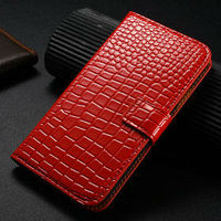 New 2013 best price luxury red wallet croco grain leather flip cell phone case for galaxy s4