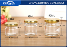 small round honey glass jars/glass mini honey bottles