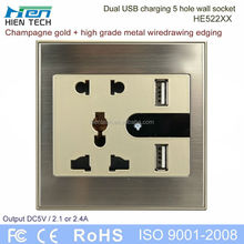 USB power 5-gang socket outlet double USB wall socket 5V2.1A and 5V2.4A charging phones without chargers