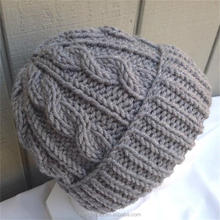 2017 best-selling heavy stitch cable knit beanie - Wool blend hat - Womens wool mix beanie - Teens gray hat - Grey chunky beanie