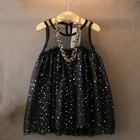 W71999G 2016 new summer dress sequin doll net tutu dress girls children frocks designs