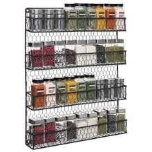 4 Tier Black Country Rustic Chicken Wire Pantry, Cabinet or Wall Mounted Spice Rack,Spice Storage Organizer