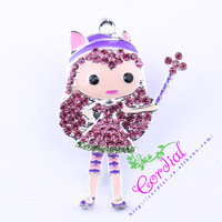 Fashion DIY Jewelry Cartoon Magic Girl Pendant Necklace For Kids Handmade Key Jewelry Alloy Accessories