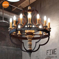 American style retro Rustic Iron 15 Light big Chandelier,vintage distressed wooden hanging pendant lamp with UL/CE