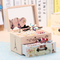 New Love music Jewelry box Creative mirrored female cosmetics Receive a case Carousel Music Box Wooden Hand Crank