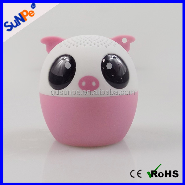 Pig shape portable mini cute animal wireless bluetooth speaker for gift with large good sound