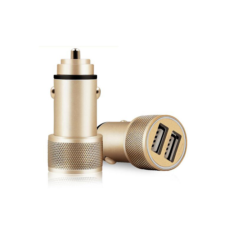 Metal  Dual Usb Car charger 2400mA Fast for Type-c/ios/android Accept PayPal