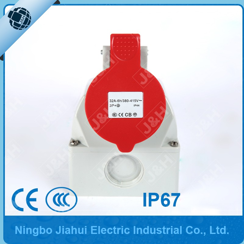 China factory european outdoor socket 32A 4P IP44 female plug waterproof industry surface mounted socket