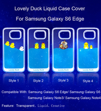 Fashion design 3d liquid rubber duck dolphin swimming floating phone case For Samsung Galaxy S6/S6 Edge/Note3/Note4