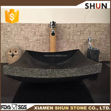 Natural split and polished shanxi black sinks