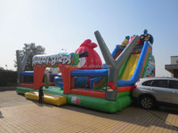 Outdoor inflatable fun city/large inflatable combo/inflatable castle slide