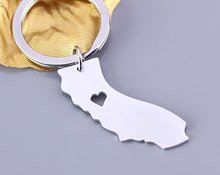 Yiwu factory wholesale silver plated I heart state map california keychains